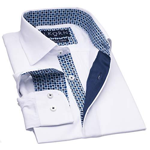 J.Korn Boys Inner Contrast Long Sleeve Cotton Blend Dress Shirt (10, CBW4)