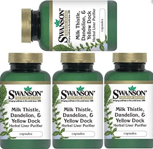 Herbal Liver Purifier – Milk Thistle, Dandelion Yellow Dock by Swanson Premium 4 Bottles Total of 480 Caps