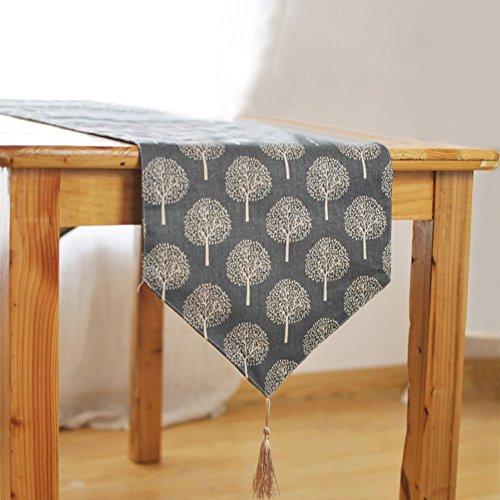 GETMORE7 - Camino de mesa de algodón y lino con diseño de árbol pequeño para decoración de tartas, novia, costura, arte...