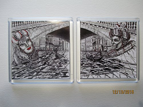 venice-carnival-series-set-2-brocade-male-and-brocade-female-2-pc-set-magnetic-coaster
