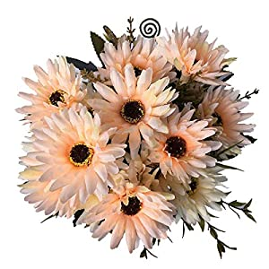 LoveniMen Artificial Chrysanthemum Flowers, Real Touch Silk Daisy Plastic Plants Home Decorations for Bridal Wedding Bouquet Bunches Hotel Party Garden Floral Décor Champagne 2pack