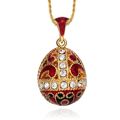 TF Charms Enamel Easter Egg Pendant Necklace 18 Inches with 18k Gold Color -