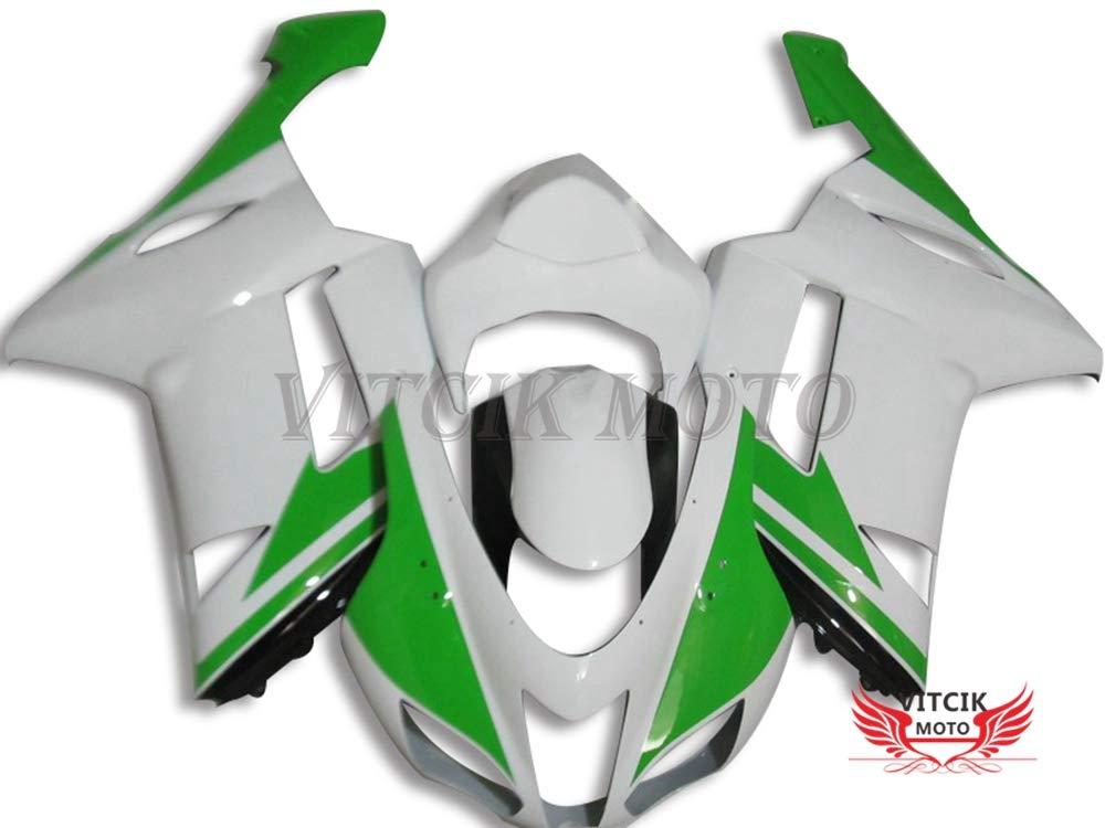 VITCIK (フェアリングキット 対応車種 カワサキ Kawasaki ZX6R ZX-6R Ninja 636 2007 2008 ZX6R ZX-6R Ninja 636 07 08) プラスチックABS射出成型 完全なオートバイ車体 アフターマーケット車体フレーム 外装パーツセット(グリーン & ホワイト) A040   B076M6XL9R