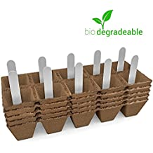 Seed Starter Peat Pots Kit   Germination Seedling Trays are Biodegradable and Organic   10 Plastic Plant Markers Included   5 Pack - 50 Cells