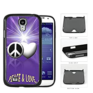Peace And Love Symbols With Purple Glare Hard Plastic Snap On Cell Phone Case Samsung Galaxy S4 SIV I9500