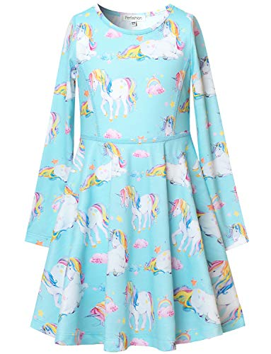 Perfashion Girl's Unicorn Dress Long Sleeve Blue Swing