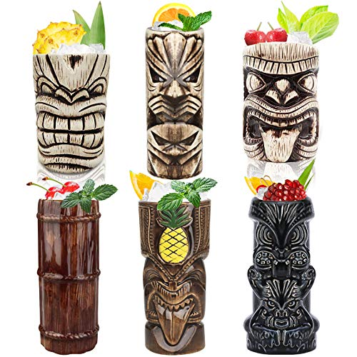 Tiki-Mugs-Cocktail-Set-of-6-Ceramic-Hawaiian-Party-Mugs-Drinkware-Cute-Exotic-Cocktail-Glasses-Tiki-Bar-Professional-Hawaiian-Party-Barware-TKSET0016-6pcs-Set