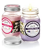 PURE Naturally Scented Aromatherapy Candles Gift Set, 2-Pack Jasmine Geranium & Lavender Chamomile Essential Oil Soy Candles Large Mason Jar, 12.5 oz. Natural Home Fragrance Candles.