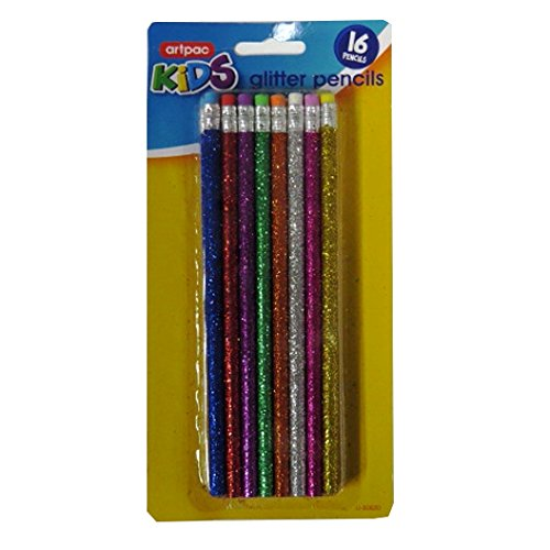 Girl's Glitter Design Standard HB Pencils with Eraser Top - Pack of (Glitter Pencils)