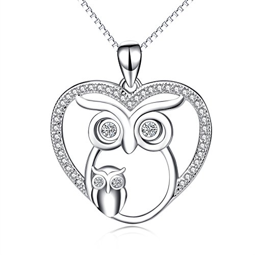 Owl Jewelry 925 Sterling Silver Mother Child Love Heart Owl Pendant Necklace (Owl Necklace)