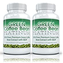 Green Coffee Bean Platinum (2 Bottles) - The Top Rated Formula. Premium 100% Pure Green Coffee Bean Extract with GCA (50% Chlorogenic Acid). Professional Strength Weight Loss Supplement. 800mg - 30 capsules per bottle
