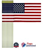Flags Unlimited Lot of 12 8×12 inch US American Hand Held Stick Flags Spear Top Made in The USA Review
