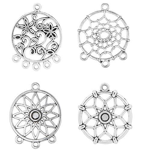 32pcs Mix Style Alloy Dreamcatcher DIY Handmade Dream Catcher Net Charms Pendant Necklace Jewelry Accessories