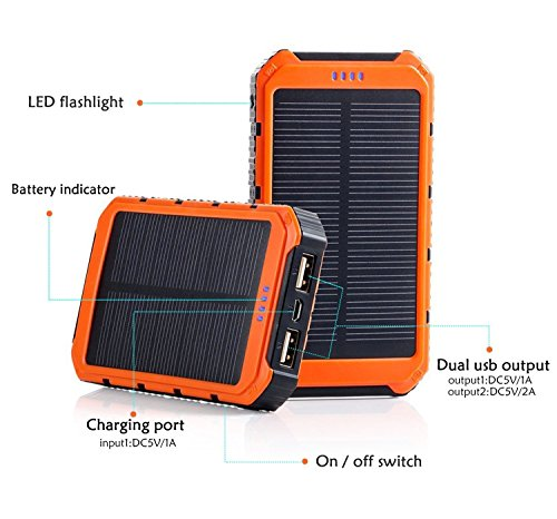 Price comparison product image Solar Charger, Solar Power Bank 20000mAh Portable Rain Shockproof Dual USB Power Charger LED Flashlight & Compass External Battery Solar Panel Power Bank Charger (ORANGE)