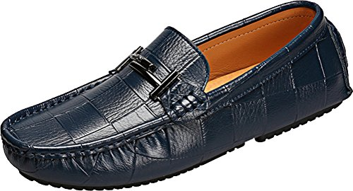 Abby 9099 Mens Comfort Stylish Casual Loafers Slip-on Work Driving Breathable Leather Shoes Blue