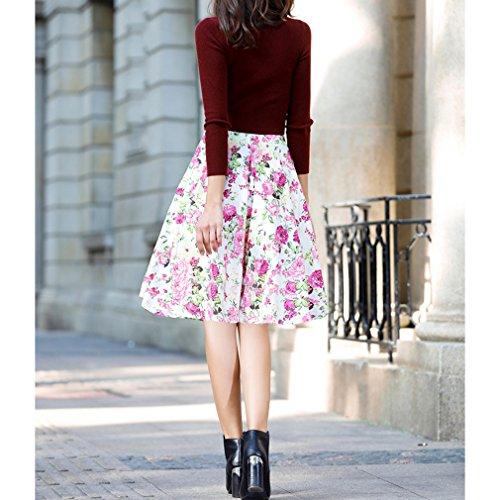 Honghu Faldas Plisado De Las Mujeres De por la rodilla De Impresión Verano Blanco