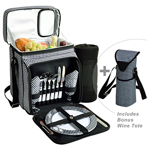 Picnic at Ascot Original Cooler Equipped for 2 with Extra Wine Tote and Blanket - Designed and Assembled in California - Houndstooth
