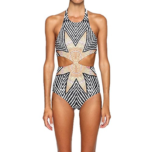 Cut Tribal Out (Dramaticbuying Women's Bathing Suit Tribal Print Knot Cut Out One Piece Swimsuit, Grey, TagsizeL=USsizeM)