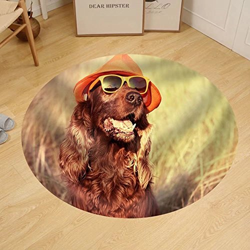 Gzhihine Custom round floor mat Funny Retro Dog Wearing Sunglasses and - Wearing Sunglasses Computer Front In Of