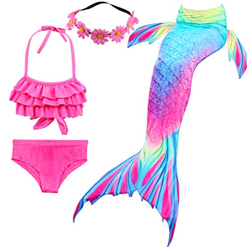 Girls 4 Pcs Swimsuits Mermaid Tails for Swimming Costume Princess Bikini Bathing Suit Set for Toddler]()