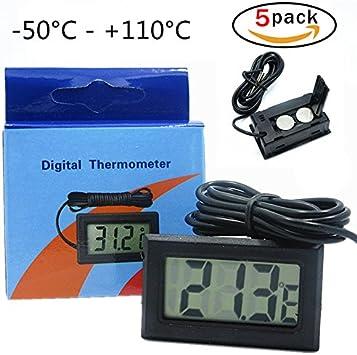 5 PCS Termómetro del acuario digital Temperatura del terrario del ...