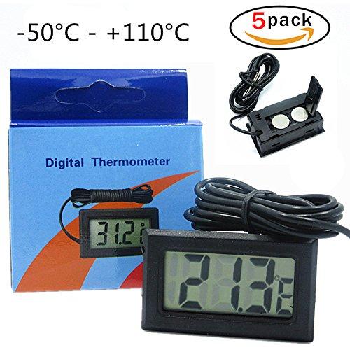 Thermomètre numérique avec écran LCD à Frigo Réfrigérateur Digital + Sonde - Lot de 5 PG
