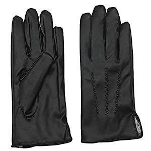 AROSA Men's Faux Leather Gloves, Faux Fur Lining, Business and Casual Wear