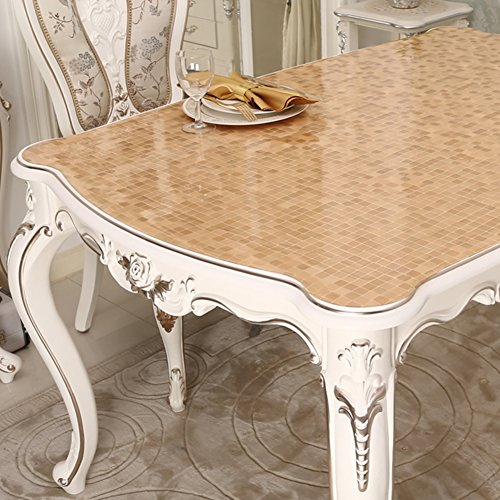 Transparent table cloth Soft glass water and oil proof disposable mat Waterproof pvc tablecloth Crystal plate coffee table cloth Dining table cloth-J 90x90cm(35x35inch)