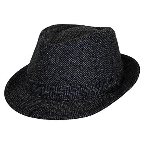 Jaxon Herringbone Wool Trilby Fedora Hat (Large) - Fedora Herringbone