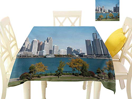 Angoueleven Table Cover Detroit,Industrial City Center Shoreline River Scenic Panoramic View in a Sunny Day,Blue Green Silver Tablecloth Party Wedding W 70
