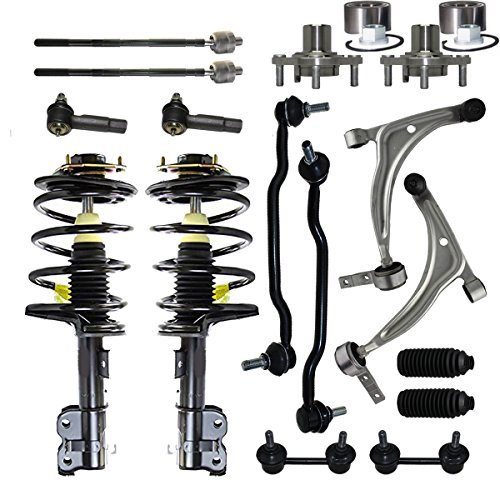 Detroit Axle - 16-Piece Front Struts, Lower Control Arms, Front Wheel Bearings, Front + Rear Sway Bar Links, Inner Outer Tie Rods w/Steering Boots for 2004 2005 2006 2007 2008 Nissan Maxima