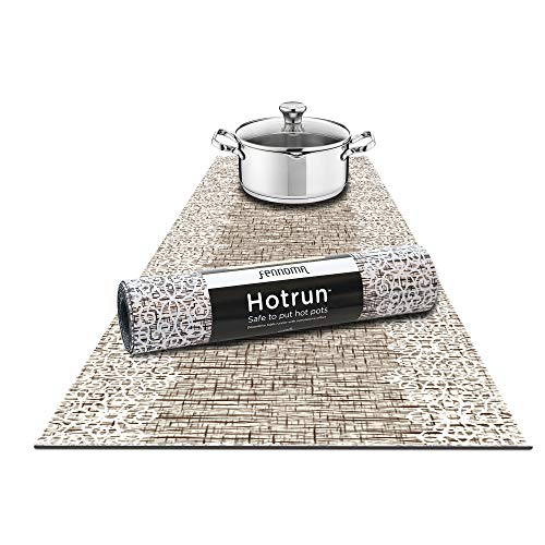 Hotrun Decorative Trivet and Kitchen Table Runners Handles Heat Up to 356F Anti Slip Hand Washable and Convenient for Hot Dishes and Pots (Wood & Lace) (Wood Runner Table)