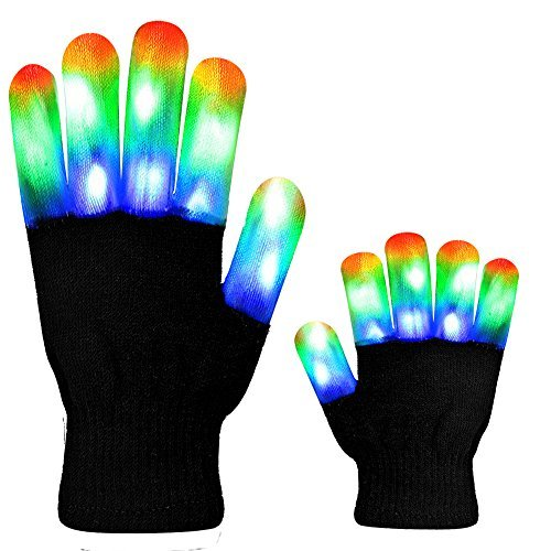Puppet Light - HITOP MAGIFIRE Flashing Colorful LED Light Up Show Gloves, Novelty Christmas Gift (Kids, Whole Fingers)