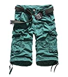 Winwinus Men Mid-Rise Solid-Colored Fine Cotton Straight-Fit Boardshorts Blackish Green 35