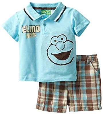 Sesame Street Baby-boys Infant 2 Piece Knit Shirt and Woven Short by Sesame Street