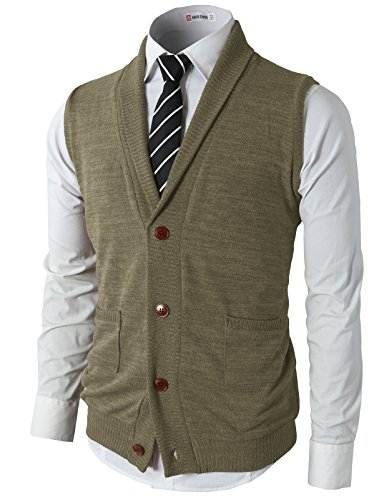 H2H Men's Fashion Basic Shawl Collar Knitted Slim Fit Vest With Ribbing Edge Beige US S/Asia M (CMOV034) by H2H
