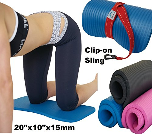 Yoga Exercise Workout Knee Pad Cushion w/Sling 15mm Thick Mat (Black)
