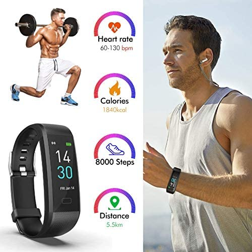 RRLOM Fitness Tracker, Smart Watch with Blood Pressure Monitor, Heart Rate Monitor, Body Temperature, Sleep Tracker, Pedometer, Activity Tracker for Women Man iPhone Android 6