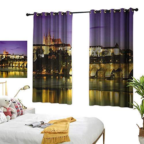 (Bedroom Curtains W63 x L63 Travel,Charles Bridge Prague Czech Republic European Famous Landmark Castle View,Purple Yellow Brown Window Curtains Blackout Printed for Kitchen Bedroom Living Room)
