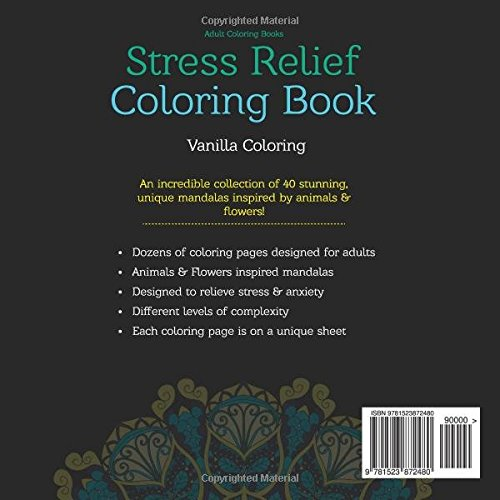 Coloring Pictures Of Animals And Flowers : Amazon.com: adult coloring books: stress relief book