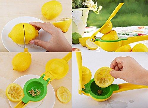 HONEYJOY Premium Metal Lemon Squeezer and Lime Juicer Heavy Duty Dishwasher  Safe Easily Clean Manual Citrus Press Yellow Handhold Use Kitchen Tool +