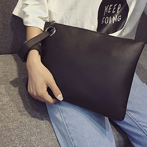 Black Wristband Party Evening PU Women's With Envelope Handbag Fashion LABANCA Clutch Px87qvRR
