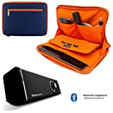Irista Carrying Leather Sleeve (Midnight Blue, Orange Trim) For Dell Venue 8 Pro Tablet (8-inch Display) + 10hr Bluetooth Speaker with Subwoofer