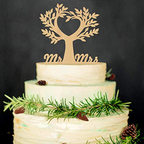 Mr and Mrs Cake Toppers Bride and Groom Rustic Wood Tree Wedding Aniversary Party Engagement Decoration (Celtic Wedding Decorations)
