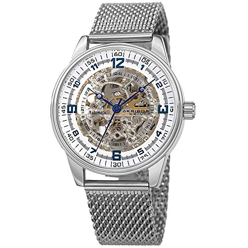 - Akribos Automatic Skeleton Mechanical Men's Watch - Luxury Professional Mesh Bracelet See Through Dial - IP Case with A Skeletonized Dial - AK1074SS (Silver on Silver Band)