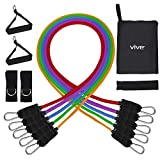 Vive Tube Resistance Band Set (5 Piece) - with Shoulder Pulley Door Anchor - Adjustable Tension Between 2 to 70 LBs - Elastic Fitness Equipment - Men & Women Workout Training - Home Gym Rehab Therapy