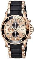 Invicta Men's 1479 Sea Spider Chronograph Rose Dial Black Polyurethane Watch