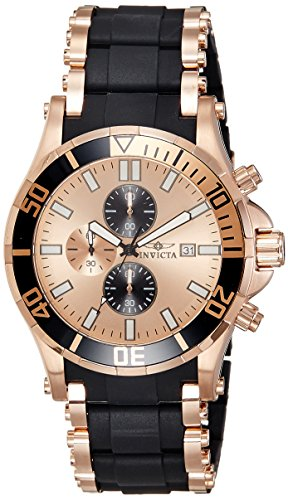 Invicta Men's 1479 Sea Spider Chronograph Rose Dial Black Polyurethane Watch -