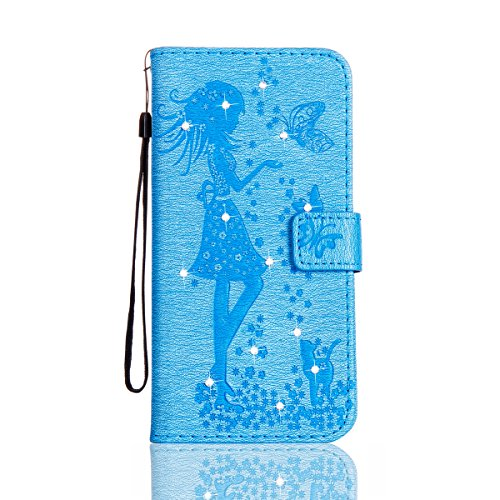 Funda Galaxy S8 Plus, Funda de brillo Galaxy S8 Plus, Lifetrut Sólido Shiny Sparkle Libro de Estilo de Cuero con Ranura para Tarjetas de Cierre Magnético Soporte Funda de Teléfono de la Función con Co E201-Azul