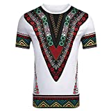 Baigooswt Men Dashiki Floral Shirts African Print Short Sleeve Tee Graphic Tops V Neck Fashion Summer T-Shirt Tee White